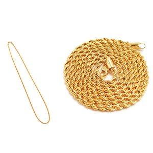 Gruesa cadena de la torcedura del collar de Hip Hop para hombre de encaje estampado cadena de la joyería collar en espiga larga para los hombres de color oro macizo Hippie