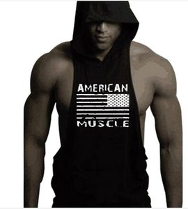 American Flag Mens Fitness Hoodies Tank Tops Sleeveless Bodybuilding Tee Shirts Casual Male Workout Hooded Vest Undershirt Sportswear