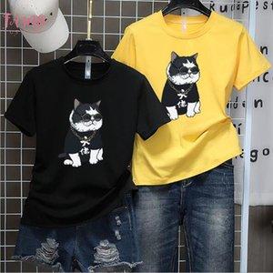 Fat Cat Print Woman T Shirts Spring Summer New Style Short Sleeve Round Neck T Shirt Femme Casual Loose T Shirt Feminina