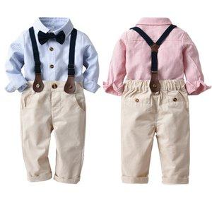 Nouveau Printemps Automne Enfants bébé garçon Vêtements formels à manches longues Chemise rayée + Pantalon Cravate Tenues Gentleman Set 3FS