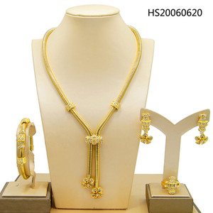 Yulaili Charm Chain Chokers Wedding Jewelry Sets Gold Color Earrings For Women African Dubai Arab Wedding Party Wife Gifts