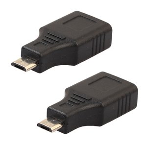 2 Pieces Micro USB Male to USB Female Adapter OTG Converter For Android Cell Phones Black