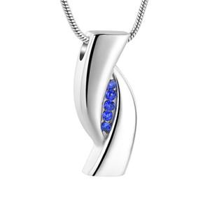 IJD12838 Entonnoir Gratuit Coffret Cadeau, pierres bleues Inlay Argent Eye Shape Bijoux Crémation Collier Mode Urne Médaillon Memorial Hommes Femmes