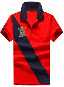 Summer Men's Striped Polo Shirts Big Horse Embroidery 100% Cotton Short Sleeve Polos Classic T-Shirt for Men Tees Number 2 Navy Blue White