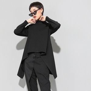 [EAM] 2020New Spring Autumn High Collar Long Sleeve Black Irregular Hem Loose T-shirt Women Fashion Tide All-match JK397 CX200604