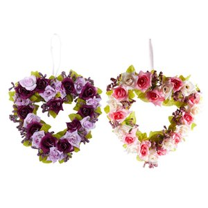 Promotion! 2 Pcs Heart Shaped Artificial Flower Wreath Door Decoration Hanging Wreaths with Silk Ribbon for Wedding Decoration 2