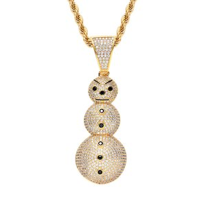 Pendente pupazzo di neve di Natale placcato in oro rame intarsiato cubic zirconia Frosty The Snowman Pendant 60cm Chain