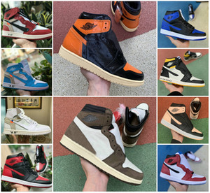 2020 Travis Scotts X Alto 1 OG SHOES TURBO VERDE Origin Story GS Banned NRG X União Retroes 1s Sports Fragmento Unc Branco Azul da sapatilha ocasional