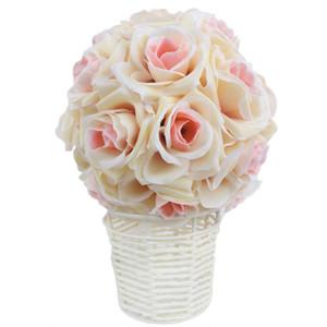 5pcs / lot artificial flor de seda Bolas Rose central de la boda del ramo de Pomander de fiesta de la boda Decoración falso bola de la flor