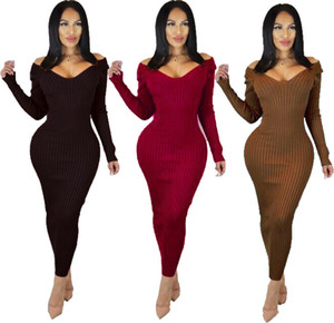 3 colors 2019 new black wine Red brown Women Knitting v neck long sleeve Ankle-Length backless bandage vestido fashion dresses