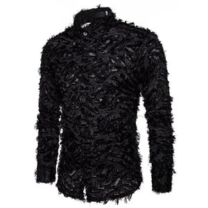 Black Feather Lace Shirt Men Fashion See Through Clubwear Dress Shirts Mens Event Party Prom Transparent Chemise S-3XL
