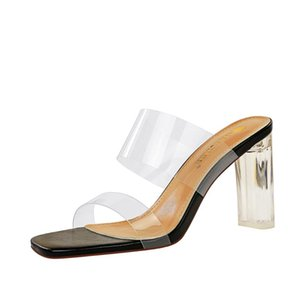 2020 New Summer Strange Heel Design Women Slippers Clear PVC Transparent Jelly Sandals Femmes Fashion Open Toe Shoes G0386
