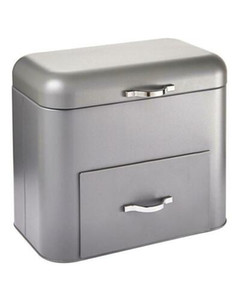 New Bread Metal Grey Bin Kitchen Food Organisation 2 in 1 Storage Canister Container