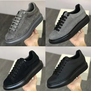 New Suede Designer Platform Sneaker Men Women Platform Trainers 100% Leather Suede Grey Green Black Fashion Lace-up shoes Big size