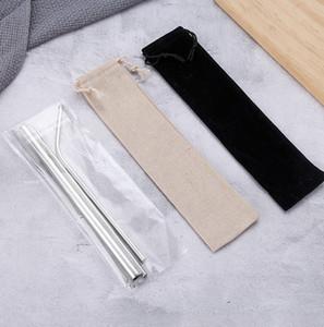 Acciaio inossidabile paglia Set di titanio placcato in metallo colorato 304 colori diritta tubo Bend Drink Giveaway Straw personalizzazione EEA1249-3