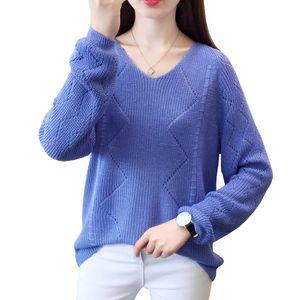 Wear Shintimes Sueter Mujer Otoño 2019 Mujer hueco sólido suéter hacia fuera de manga larga floja ocasional de punto suéter mujeres Jumper