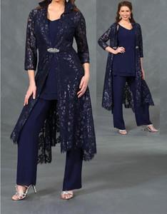 3/4 manches longues Vestes en dentelle 2020 les plus récents Trois Pièces Mère des costumes mariée en mousseline de soie Pantalon de soirée de mariage Robes formelles