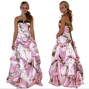 Abiti da sposa mimetici rosa 2020 Gonna drappeggiata Abiti da sposa in raso Allacciato indietro Personalizzato Plus Size Camouflage Abiti personalizzati
