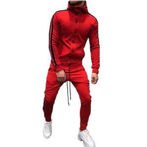 Litería cremallera chándal conjunto de hombres deporte 2 piezas sudorsuit hombres ropa impresa con capucha con capucha chaqueta pantalones traje traje hombres