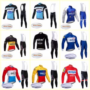 QUICK STEP Team Cycling Long sleeves Jerseys Winter thermal Fleece Long Sleeve Cycling Clothing Road Bicycle Sportswear B619-12