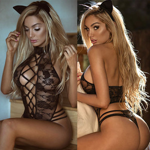 US Ladies Strappy Plunge V Neck Full Lace Bodysuit Mulheres Bodycon Tops Lingerie