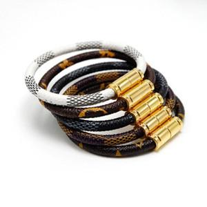 Pulseras de cuero de marca Brazaletes para mujeres Hombres 19 cm 316L Diseñador de acero inoxidable Pulsera de declaración Pulseiras Accesorios de joyería Regalos DHL