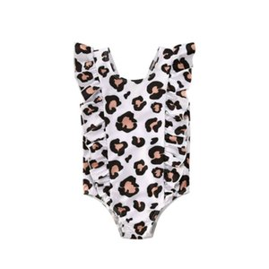Cute Summer Kid Baby Girl Ruffle Leopard Printed One Piece Bikini Swimwear Swimsuit Bathing Beachwear
