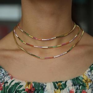Alta qualidade sparking cadeia de tênis arco-íris chocker colar com minúsculo colorido CZ moda personalidade mulheres colar de jóias bijoux femme