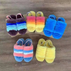 Pelusa Sí Slide azul de neón amarilla peluda cálido Zapatilla Pantoufles de cuero de lujo de las mujeres sandalias de piel de las mujeres Pantoufle Zapatilla Hausschuhe