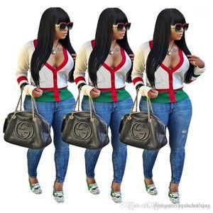 Tops manches longues sexy dames T-shirts avec poches Femme Vêtements col en V profond Cardigan rayé Femmes