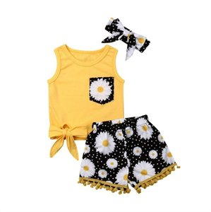 Baby Summer Clothing Toddler Baby Girl Flower Sleeveless Tops T-shirts Tassel Daisy Short Headband 3PCS Outfits Set Sunsuit