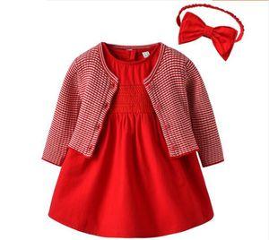 Kız bebek kısa kollu prenses elbise yabancı tarzı kırmızı elbise saf pamuk bebek elbise yüz gün etek takım elbise