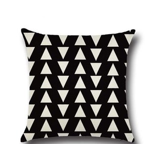 Federa nera e marrone chiaro Federa di lino cotone stampato 18x18 pollici geometria euro cuscino copertine 45 * 45 cm
