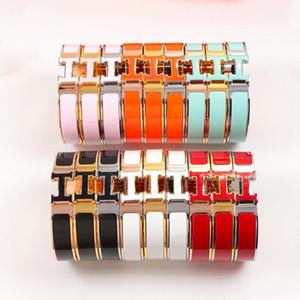 H Bangle Women's H Enamel Bracelets rose gold jewelry gift 12MM Bracelets with Original Velvet bag