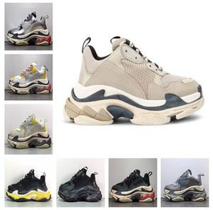 Uomo Donna Coppie 17fw delle scarpe da tennis casuali di modo di papà scarpe da ginnastica in pelle Aumentare Sneaker beige Triple S Chaussures