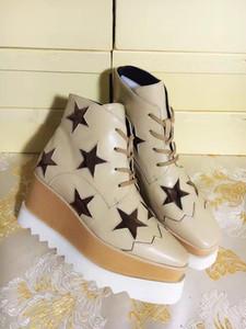 Stella Mccartney Plataforma Botas Zapatos de mujer Elyse Estrellas Cuñas de calidad superior de Blingbling plena flor zapatos de cuero de Oxfords 15 1Sneakers L05