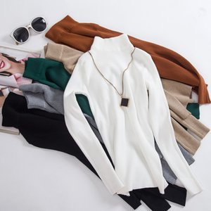 10 couleurs automnales femmes d'hiver Tricoté Pull à col roulé Pull-overs Casual Col souple Mode Pull Slim Réchauffez Femme Pulls LY191217