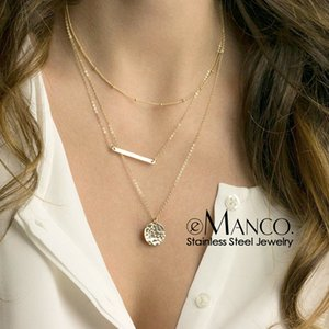 e-Manco Trendy Three Layered Necklace women stainless Steel Necklace for women Simple Chain Choker Necklace Jewelry