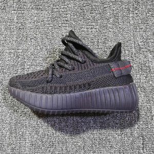 2019 Brand Kanye West 3M reflective baby Yecheil kids running shoes static glow green clay sneakers big little boy girl