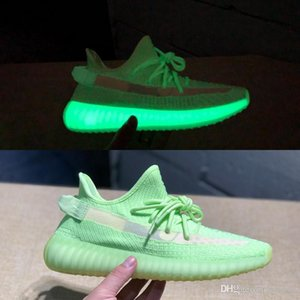 Kanye West Gid Glow Static Reflective Running Shoes Glow In The Dark Clay True Form Hyperspace Sneakers Beluga 2.0 Zebra Sports Trainer
