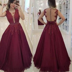 Prom Dress Abiti sexy in rilievo con scollo a V Borgogna promenade di Tulle Pizzo Linea donne arabe abito da sera 2020 su ordine