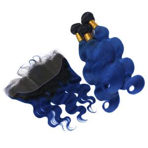 Ombre cor corpo onda 1B cabelo humano azul 3 pacotes com laço frontal 13x4 dois tons cabelo azul trama extensão com fechamento frontal