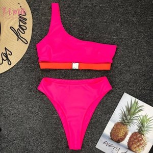 Vintage High Waist Bikini 2020 Neon Hot Pink One Shoulder Solid Push Up Swimsuit Bather Brazilian Bathing Buckle Biquini