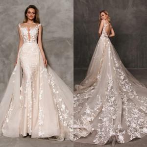 2020 Luz Champagne Lace Appliqued destacável vestidos de noiva sem mangas ilusão Mermaid Vestido de Noiva Robe de Mariage