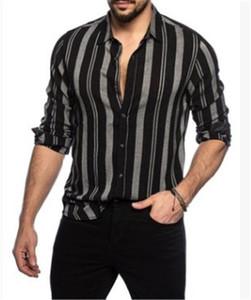 Mens Designer Rayé Imprimer Chemises Tournent Vers Le Bas Casual T-Shirts À Manches Longues Contraste Couleur Mens Unique Poitrine Tops