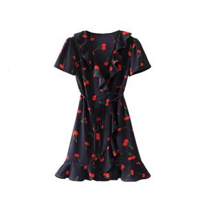 Frau Kleidung Womens Designer-Kleid Rüschen Sommer-Strand-reizvolle Backless Kleider kurz Vestidos tiefer V-Ausschnitt Boho Blumendruck-Minikleid