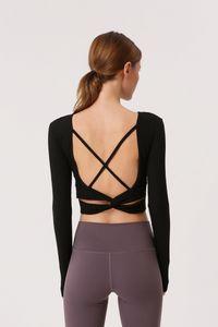 Ropa de yoga Kadınlar Geri sapanlar Gym Yoga Mahsul Yoga Gömlek Uzun Kollu Tişörtler Rip Stretch Kumaş Tops