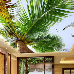 Custom 3D Photo Wallpaper Blue Sky Coconut Trees Seagull Modern Living Room Bedroom Ceiling Zenith Mural Wall Papers Home Decor