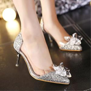 роскошь дизайнер Gold Sequined Стразы женская обувь лето горный хрусталь высокой пятки шпильках сандалии сексуальные серебряные свадьбы невеста обувь Дешевые