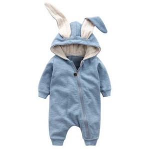 Cute Rabbit Ear Baby Pagliaccetti con cappuccio per bambini Ragazzi Ragazze Vestiti Abbigliamento neonato Marche tuta infantile Costume Baby Outfit MX190720